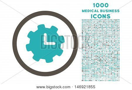 Time Settings rounded vector bicolor icon with 1000 medical business icons. Set style is flat pictograms, grey and cyan colors, white background.