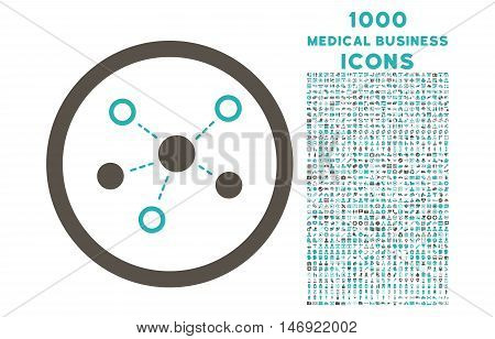 Virtual Links rounded vector bicolor icon with 1000 medical business icons. Set style is flat pictograms, grey and cyan colors, white background.
