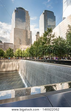 New York USA - SEP 3 2016. The National September 11 9/11 Memorial at the World Trade Center Ground Zero site.The memorial was dedicated on the 10th anniversary of the Sept. 11, 2001 attacks.