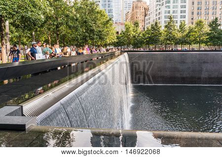 New York USA - SEP 3 2016. The National September 11 9/11 Memorial at the World Trade Center Ground Zero site.