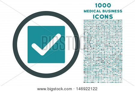 Check rounded vector bicolor icon with 1000 medical business icons. Set style is flat pictograms, soft blue colors, white background.
