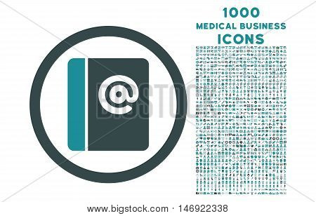 Emails rounded vector bicolor icon with 1000 medical business icons. Set style is flat pictograms, soft blue colors, white background.