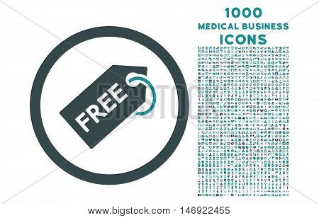 Free Tag rounded vector bicolor icon with 1000 medical business icons. Set style is flat pictograms, soft blue colors, white background.