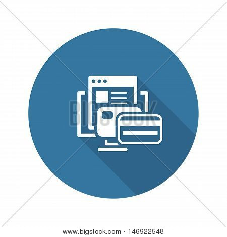 Online Payment Icon. Flat Design Isolated Illustration. App Symbol or UI element. Desktop PC with Bank Cards and Web Page.