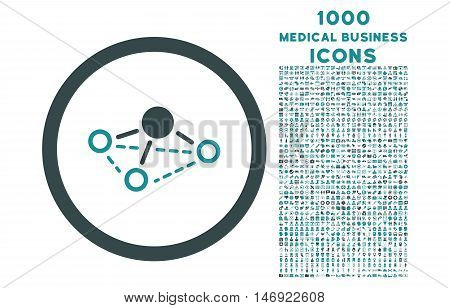 Molecule rounded vector bicolor icon with 1000 medical business icons. Set style is flat pictograms, soft blue colors, white background.
