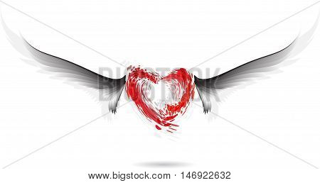 Red heart and gray wings on white background