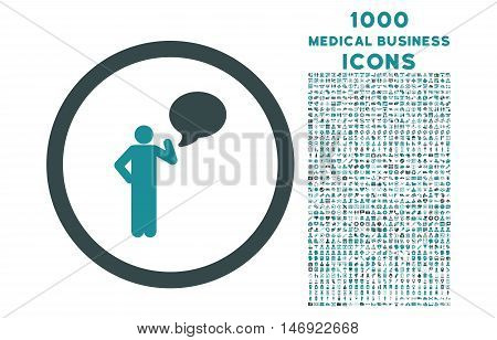 Person Idea rounded vector bicolor icon with 1000 medical business icons. Set style is flat pictograms, soft blue colors, white background.