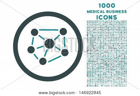 Social Graph rounded vector bicolor icon with 1000 medical business icons. Set style is flat pictograms, soft blue colors, white background.