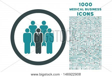 Staff rounded vector bicolor icon with 1000 medical business icons. Set style is flat pictograms, soft blue colors, white background.