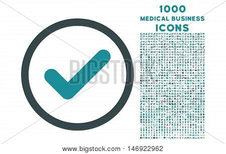 Yes rounded vector bicolor icon with 1000 medical business icons. Set style is flat pictograms, soft blue colors, white background.