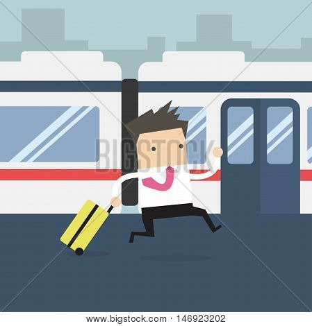 Businessmen running and missed the train vector