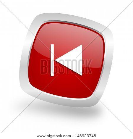 prev square glossy red chrome silver metallic web icon