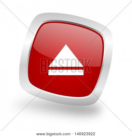 eject square glossy red chrome silver metallic web icon