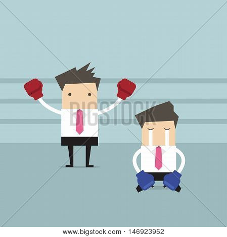 Businessman wearing boxing gloves standing in boxing ring as winner and defeated opponent kneel on floor.