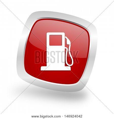 petrol square glossy red chrome silver metallic web icon