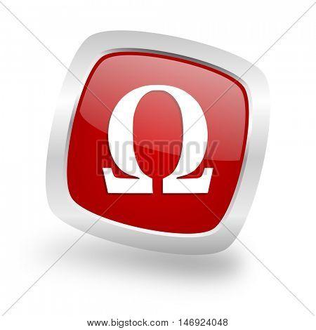omega square glossy red chrome silver metallic web icon