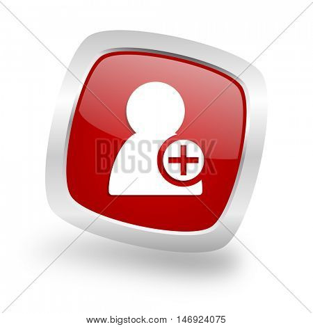add contact square glossy red chrome silver metallic web icon