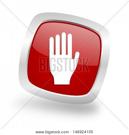 stop square glossy red chrome silver metallic web icon