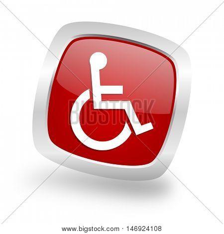 wheelchair square glossy red chrome silver metallic web icon
