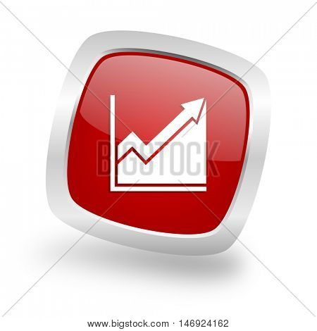 histogram square glossy red chrome silver metallic web icon