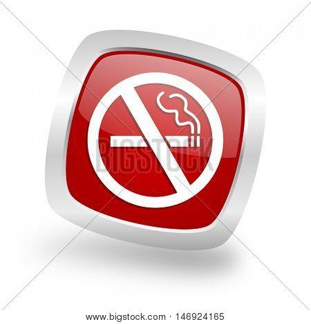 no smoking square glossy red chrome silver metallic web icon