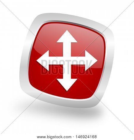 arrow square glossy red chrome silver metallic web icon