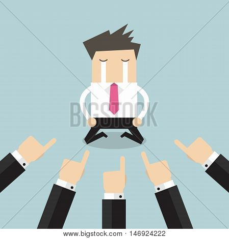 Businessman with hands pointing at him. vector