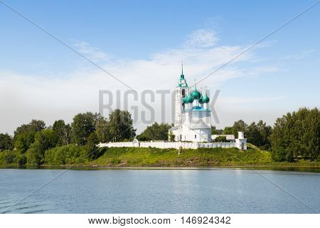 Ancient monastery on the banks of the Volga River in Russia.
