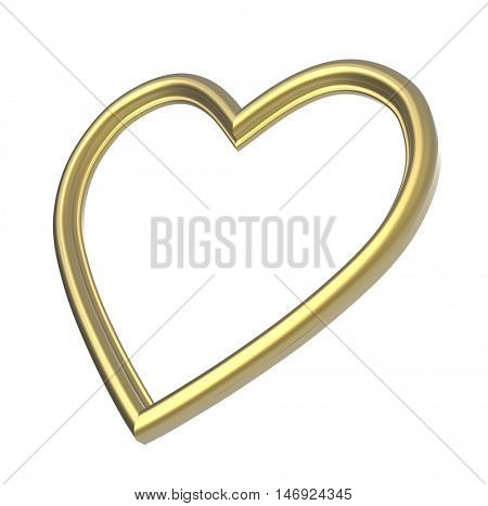 Golden heart picture frame isolated on white. 3D illustration.