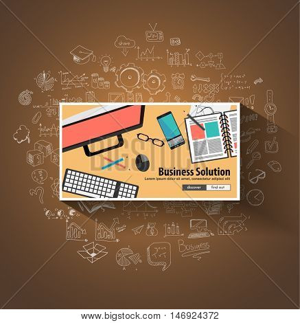 Business Solutions concept wih Doodle design style :finding solution, brainstorming, creative thinking. Modern style illustration for web banners, brochure and flyers.
