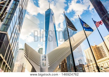 New York NY USA - September 3 2016 view of the Freedom Tower and Oculus