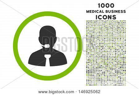 Call Center Operator rounded glyph bicolor icon with 1000 medical business icons. Set style is flat pictograms, eco green and gray colors, white background.