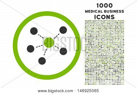 Connections rounded glyph bicolor icon with 1000 medical business icons. Set style is flat pictograms, eco green and gray colors, white background.