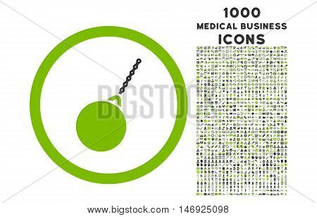 Destruction Hammer rounded glyph bicolor icon with 1000 medical business icons. Set style is flat pictograms, eco green and gray colors, white background.