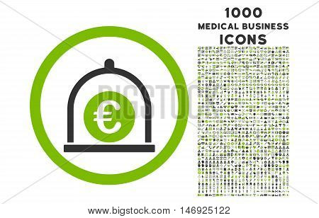 Euro Standard rounded glyph bicolor icon with 1000 medical business icons. Set style is flat pictograms, eco green and gray colors, white background.