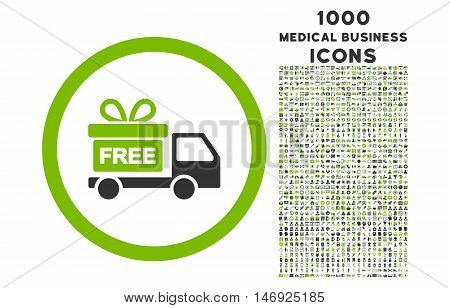 Gift Delivery rounded glyph bicolor icon with 1000 medical business icons. Set style is flat pictograms, eco green and gray colors, white background.