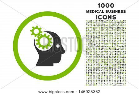 Intellect Gears rounded glyph bicolor icon with 1000 medical business icons. Set style is flat pictograms, eco green and gray colors, white background.
