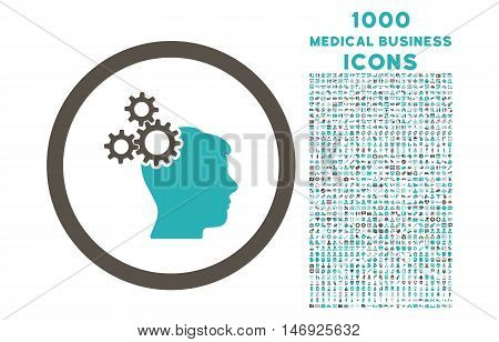 Business Idea rounded glyph bicolor icon with 1000 medical business icons. Set style is flat pictograms, grey and cyan colors, white background.