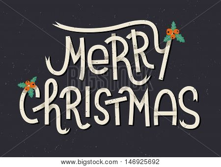 Merry Christmas Lettering. Typographic Greeting Card With Dark Background