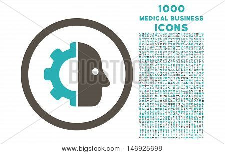 Cyborg rounded glyph bicolor icon with 1000 medical business icons. Set style is flat pictograms, grey and cyan colors, white background.