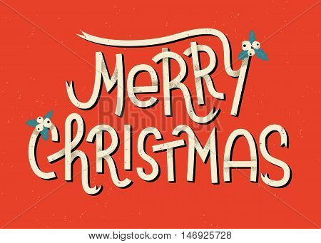 Merry Christmas Lettering. Typographic Greeting Card With Red Background