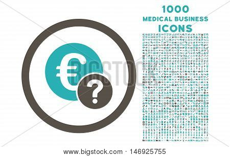 Euro Status rounded glyph bicolor icon with 1000 medical business icons. Set style is flat pictograms, grey and cyan colors, white background.