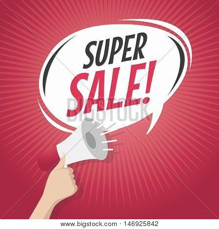 Super sale cartoon speech bubble with loudspeaker vector