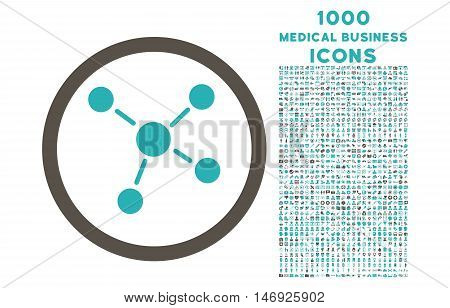 Links rounded glyph bicolor icon with 1000 medical business icons. Set style is flat pictograms, grey and cyan colors, white background.