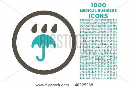 Rain Protection rounded glyph bicolor icon with 1000 medical business icons. Set style is flat pictograms, grey and cyan colors, white background.
