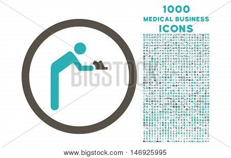 Servant rounded glyph bicolor icon with 1000 medical business icons. Set style is flat pictograms, grey and cyan colors, white background.