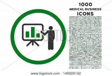 Bar Chart Presentation rounded glyph bicolor icon with 1000 medical business icons. Set style is flat pictograms, green and gray colors, white background.