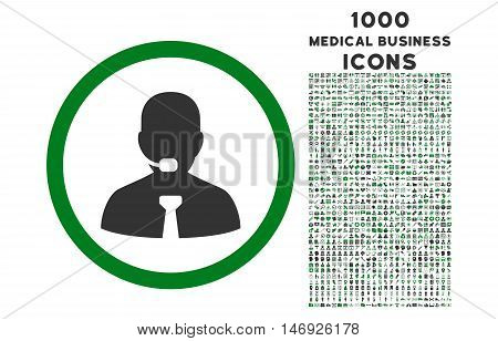 Call Center Operator rounded glyph bicolor icon with 1000 medical business icons. Set style is flat pictograms, green and gray colors, white background.