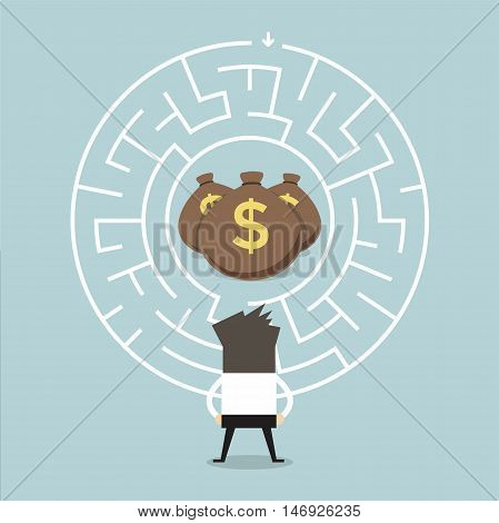 Businessman wanting to enter a money maze vector