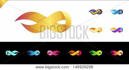 Flame Logo Template. Fire Vector Design. Infinity Symbol Logotype Set. 11 Colorful Logos. Different